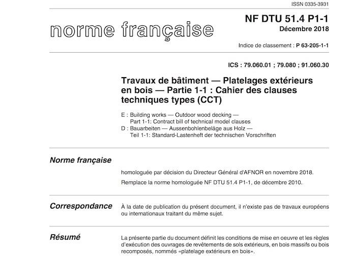 Le NF DTU 51.4 - Platelages bois paru en décembre 2018