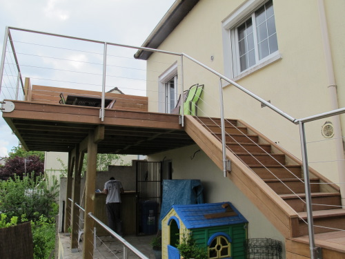 Garde corps inox modulaire main courante pour terrasses en bois - Reglementation terrasse bois ...
