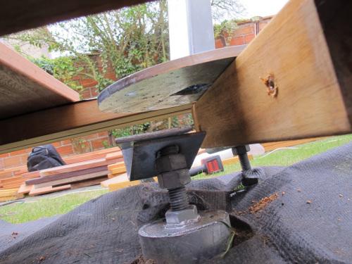 fixation de mat de voile dombre avec vis de fondation