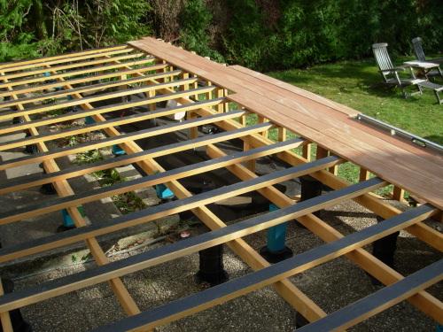 Monter une terrasse bois avec double lambourdage - Comment realiser une terrasse en bois ...
