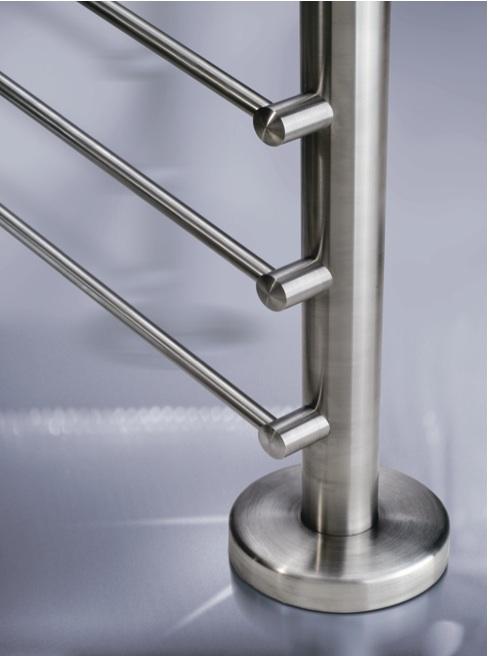rambarde escalier bois et tube vertical