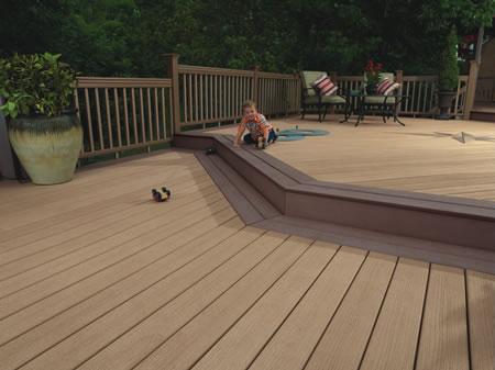 Lames bois composite balcons for Eclairage terrasse composite